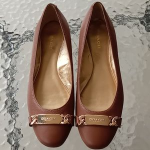 New Coach Bianca Brown Leather Flats